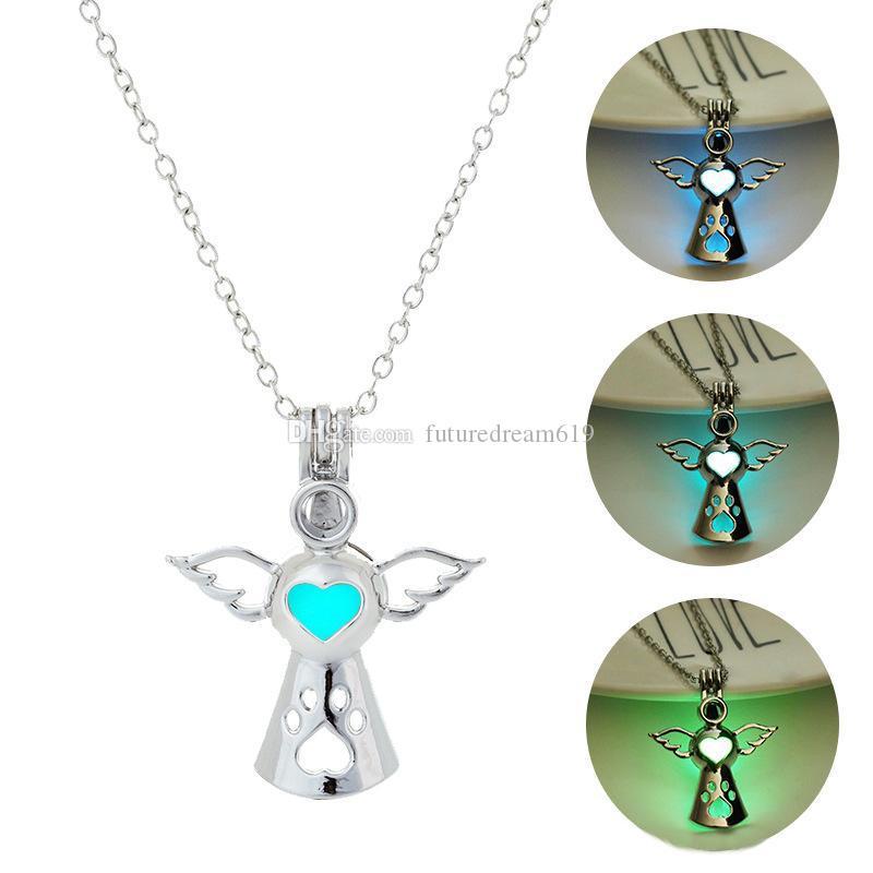 Luxo luminoso asas de anjo pingente de brilho no escuro gaiola aberta medalhão charme cadeias para mulheres homens moda jóias em massa