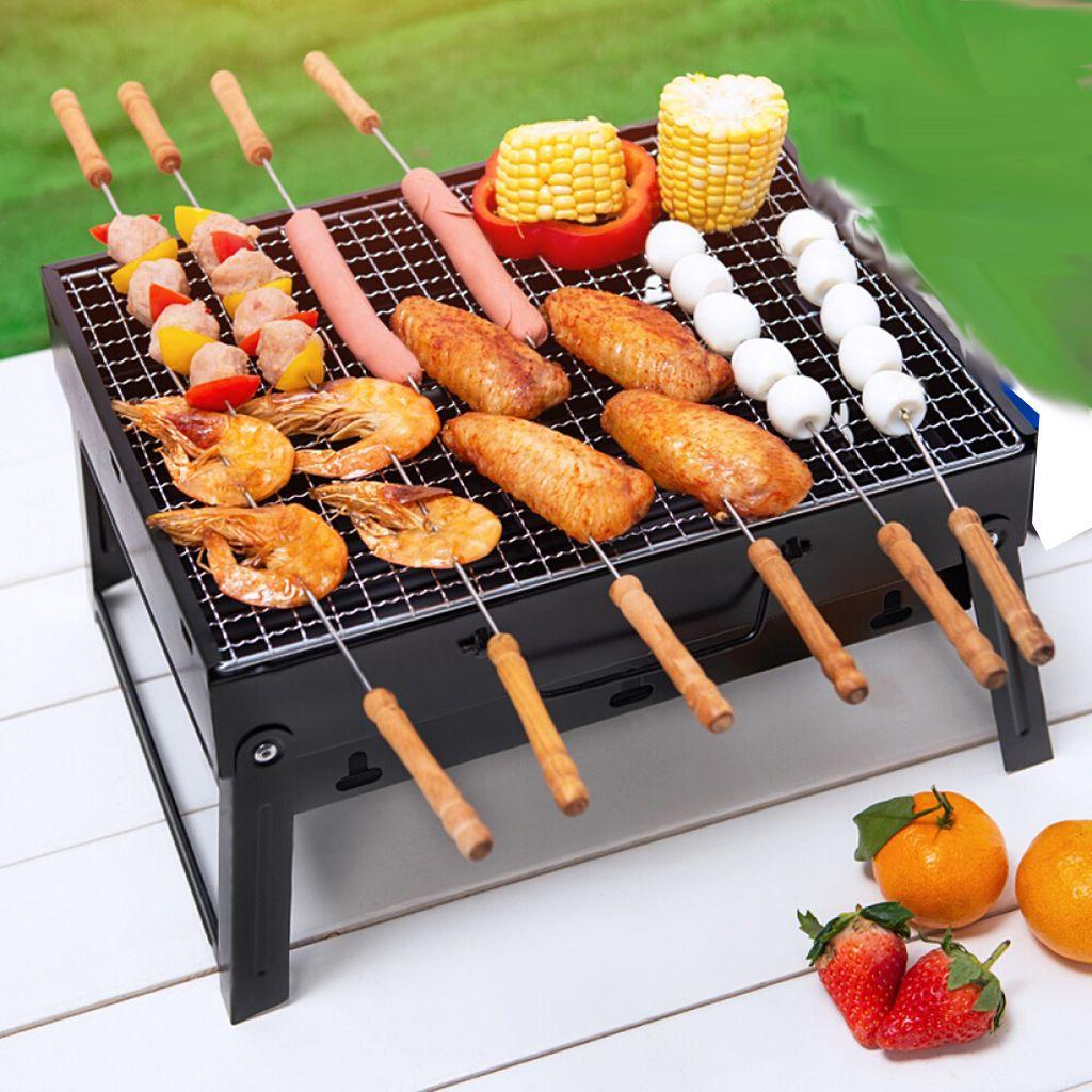 야외 캠핑 하이킹 피크닉 파티오 흡연자 요리에 대한 작은 접이식 휴대용 숯불 바베큐 그릴