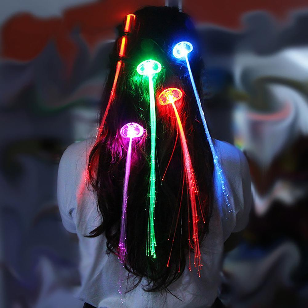 5Pcs Multicolor Color Change Led Flashing Fiber Optic Hair Braid Barrettes Lights For Party Light Up Headband Glow Supplies NKEWF