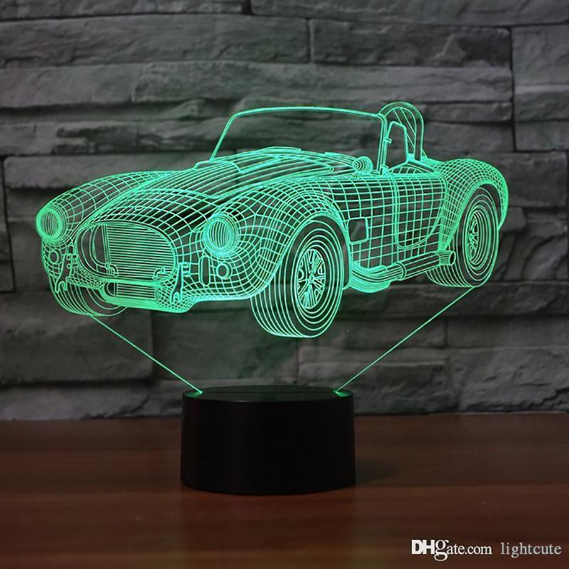 7 Color Changing Vision 3D Sports Car Shape Light LED Sleep NightLight Creative Luminaria Bebroom Decor Vehicle Table Lamp Gifts