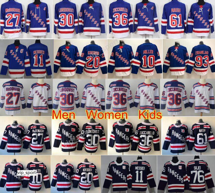 Henrik lundqvist 30 Jersey New York Rangers Hockey 36 Mats zuccarello 61 Rick Nash 27 Ryan McDonagh 10 JT Miller 11 Mark Morgeier