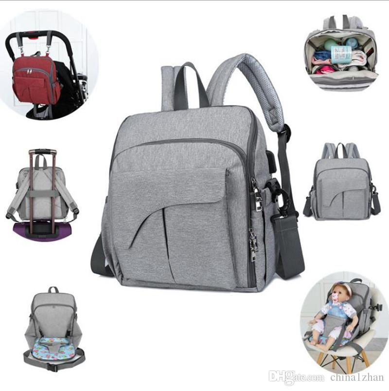 Bags DW4795 Stroller Multi Organizer Handbag With USB Port Dining Seat Function Nappy Backpack Bag Backpack Baby Travel Chair Diaper 15 Hdnp