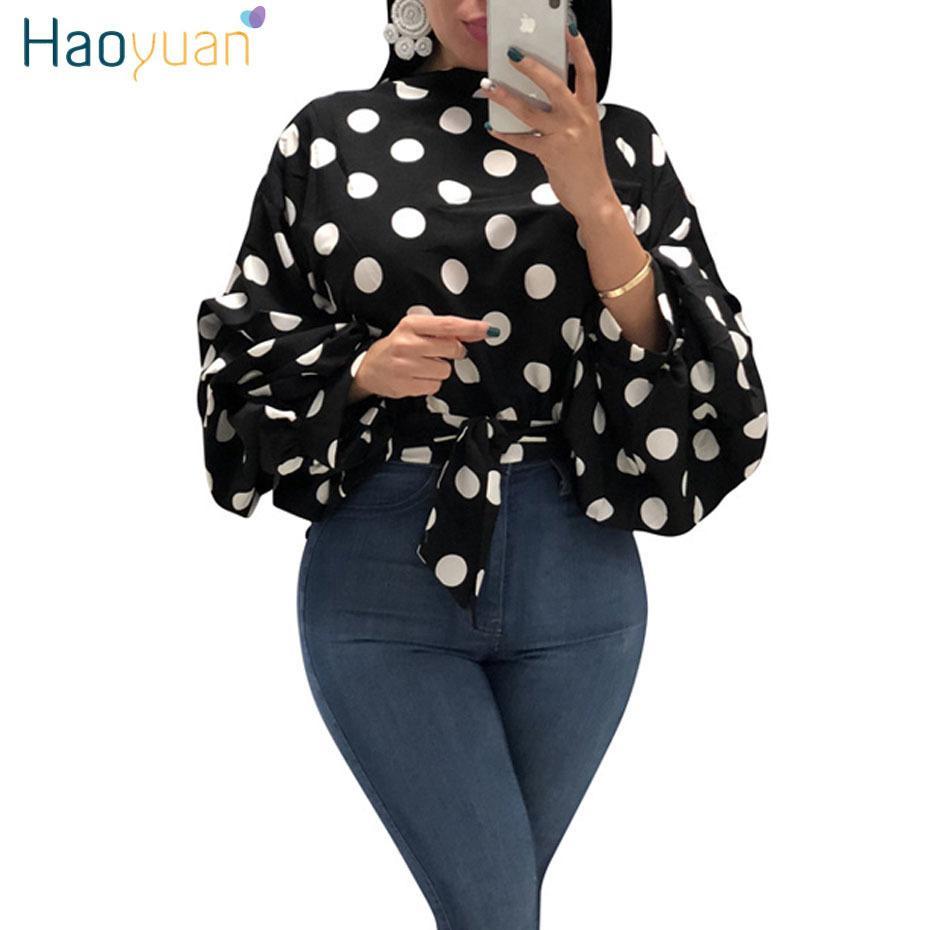 Haoyuan Polka Dot Plus Size Womens Top e Camicette Tunica Vintage Bow Manica lunga Sexy Camicie Autunno Casual Camicetta Delle Signore Top J190615