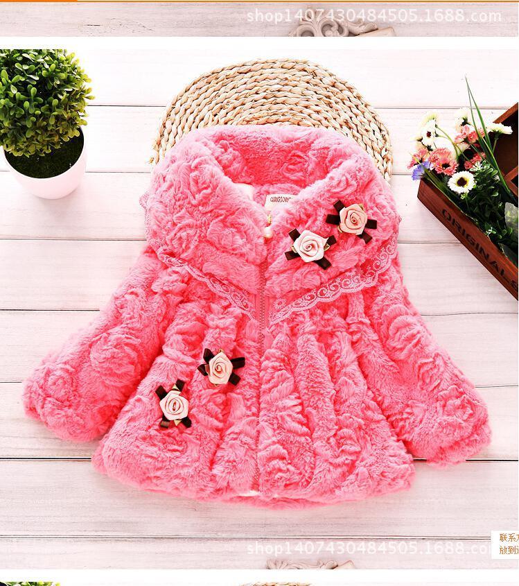 En gros-2015 de l'automne hiver à la mode, haute qualité douce fille en peluche bourgeon soie petit manteau veste vêtements enfants manteau de fourrure