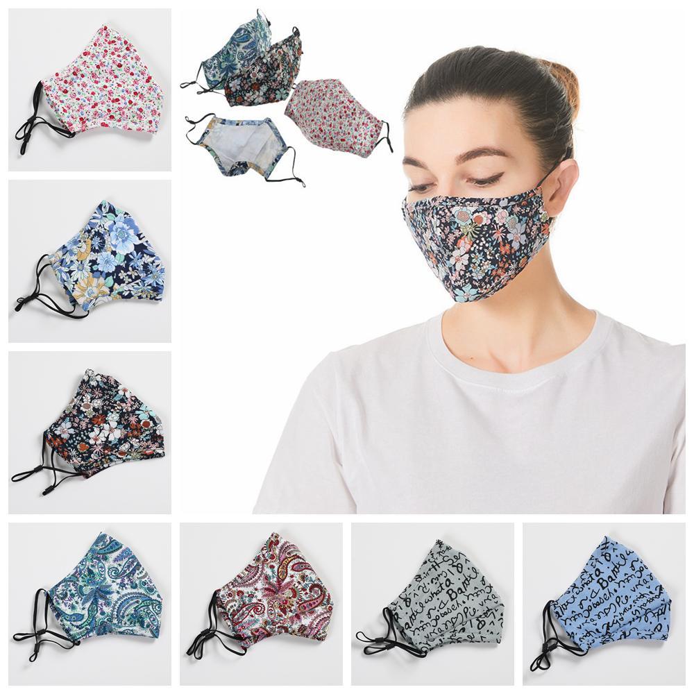 Paisley máscara carta floral cobertura boca impressa protetora ao ar livre adulto adulto lavável poeira máscaras com filtro pocket FFA4238