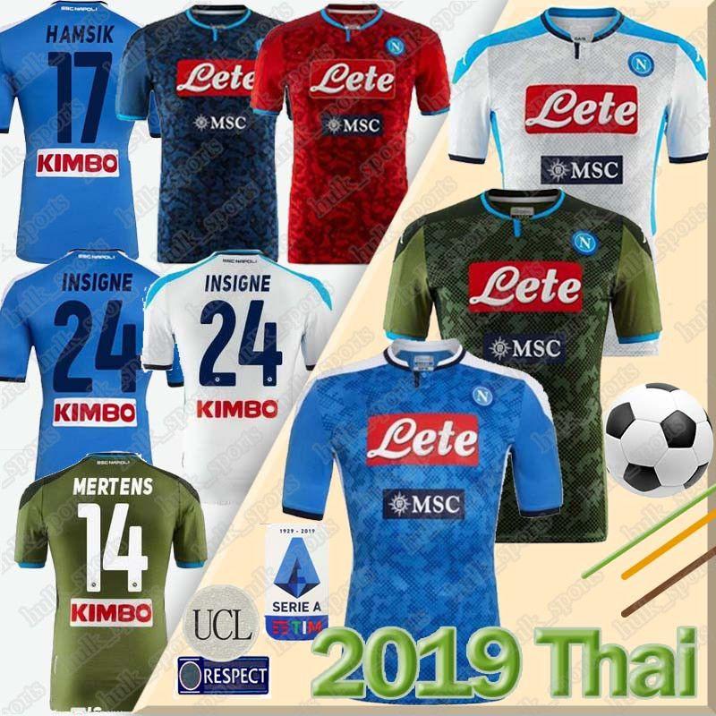 2019 2020 Serie A Nápoles Napoli casa longe de Futebol Napoli futebol Jerseys 19 20 LOZANO Hamsik INSIGNE La palla di calcio inglese