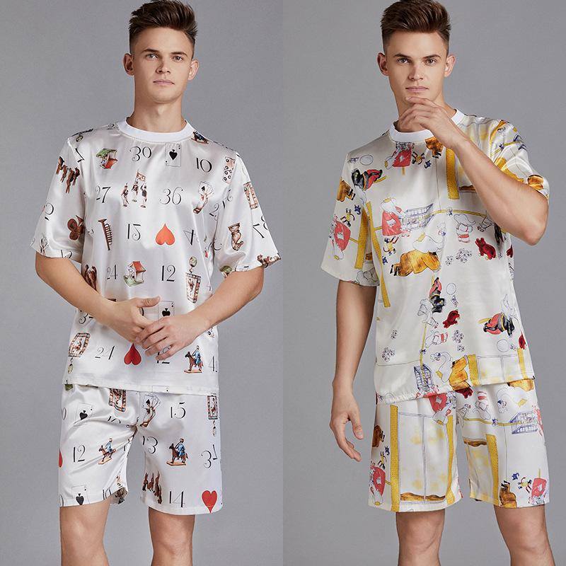 Summer Men Pyjama Set Print Satin Men Pajama Suit Short Sleeve Shorts Silk Pajama Man Sleepwear Spring Male Nightgown XXL