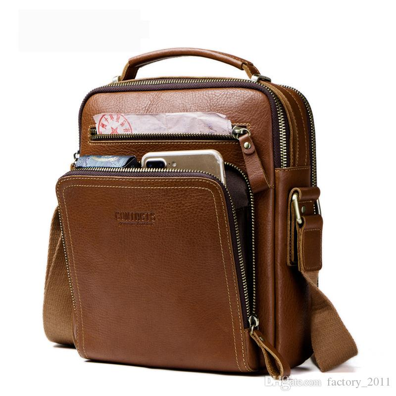 Men Shoulder Bag Messenger Bags Cowhide Real Geniune Leather Vintage Travel Pouch Small Crossbody Bags Fashion Style iPad Pouch MB108