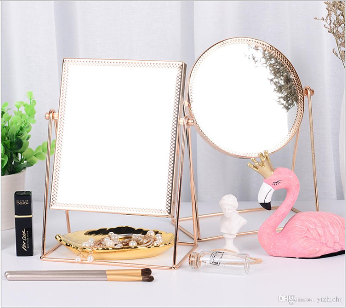 Makeup Mirror Metal Rose Gold Single Make Up Mirror Vanity Mirror Decorative Mirrors Perfect For Dressing Table Large Mirrors For Bathroom Walls Large