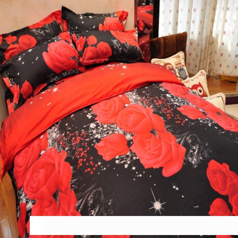 4Pcs Queen Size Bedding Set Flower 3D Prined Duvet Quilt Covers Sheet Pillowcase