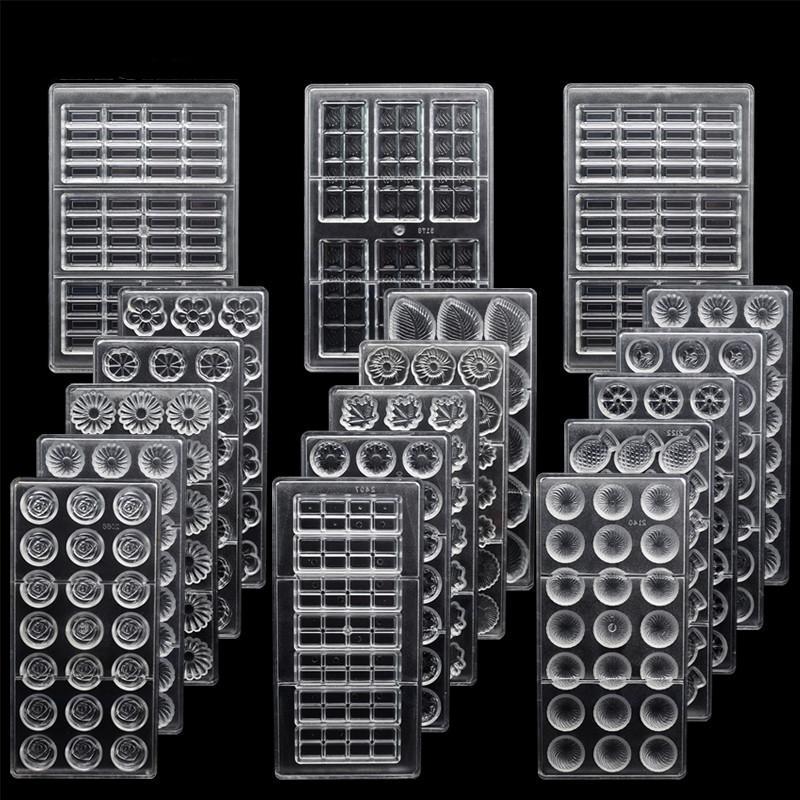 Поликарбонат для шоколада 3D шоколад Конфеты Bars Mold Tray Поликарбонат Форма Цветы Выпечка Кондитерские изделия Хлебобулочные инструменты