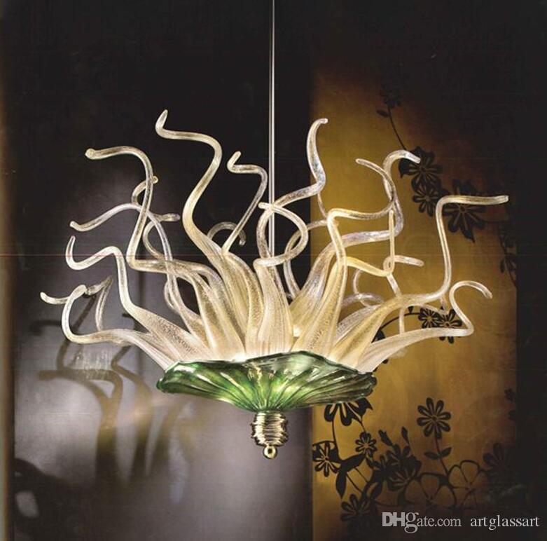 Yeşil ve Amber Gölge El Yapımı Üflemeli Cam Avizeler DIY Cam Tabaklar kolye Işık Art Glass LED Işık Asma
