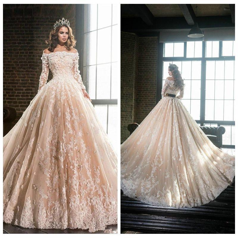2021 Bateau cuello de manga larga de encaje apliques una línea de vestidos de boda formales Capilla Vestidos Largos de tren de novia con flores 3D Adorned Vestidos