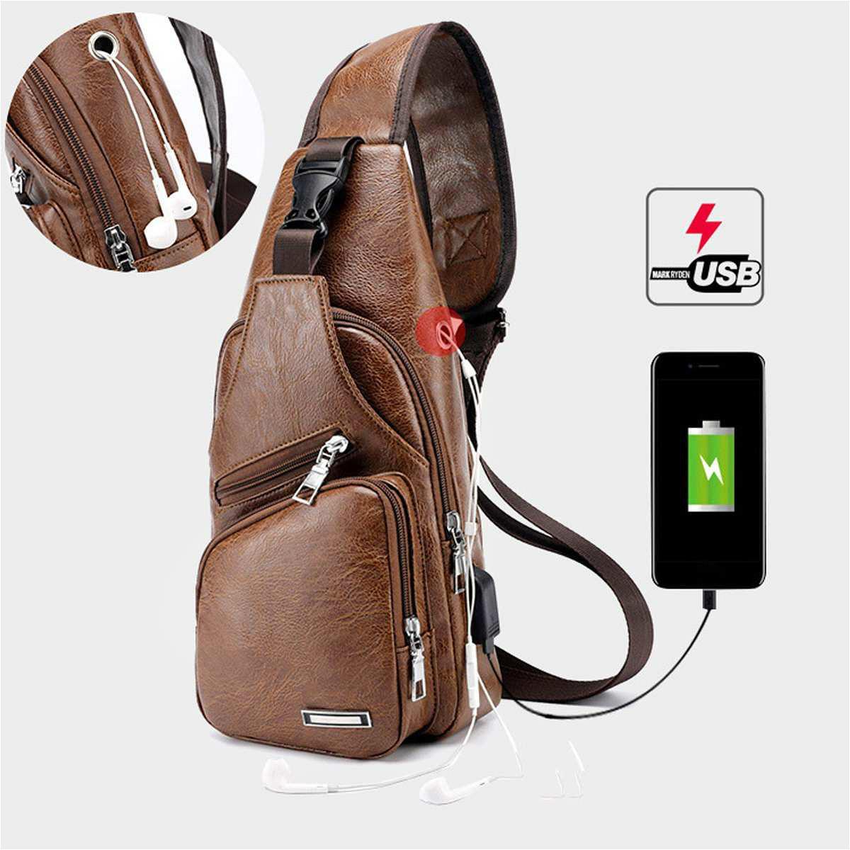 Мужская Crossbody Сумка мужских USB Chest сумка Конструктор Сумка из кожи сумка плечи Diagonal пакет NEW Рюкзак для путешествий