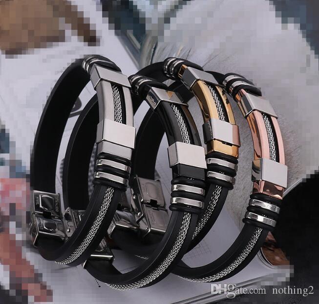Edelstahl-Schmuck Silikon-Schwarz-Armband Einfache Gummi Charm Armband Hombre Armbänder Entwerferschmucksachen mens neue Art und Weise