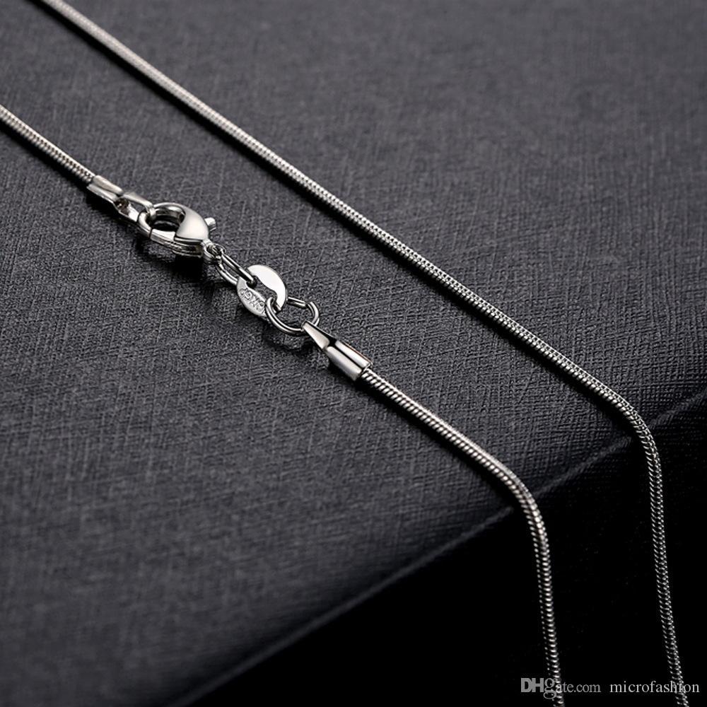 1mm 925 Chaîne serpent Collier 16/18/20/22/24 pouces Argent Fermoir Collier pour femmes Bijoux pendentif avec chaîne