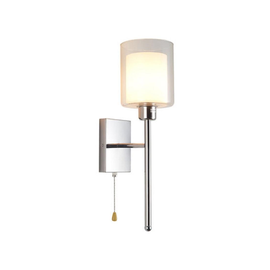Modern art deco wall light with pull chain switch, america style chrome finish bedside wall lamp,industrial nordic sconces