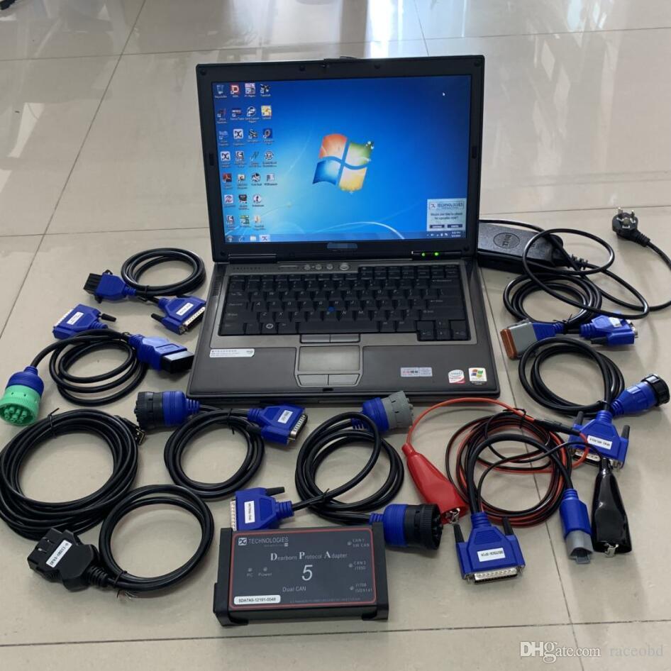 Truck Diagnóstico Ferramenta Scanners Dearborn Protocolo Adapter5 Duração Pesada DPA5 Sem Bluetooth Com Computador D630 Full Kit