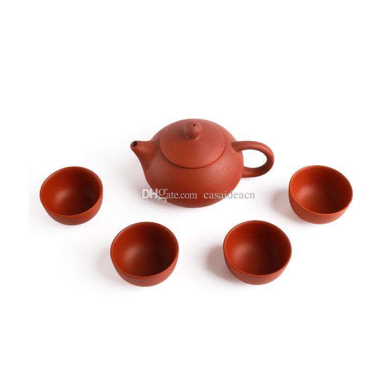 الطبيعية بيربل كلاي الشاي مع مجموعة 1 ابريق الشاي 4 فناجين اليدوية بيربل الرمل الصينية كونغ فو Teaware حجية هدايا ييشينغ الشاي
