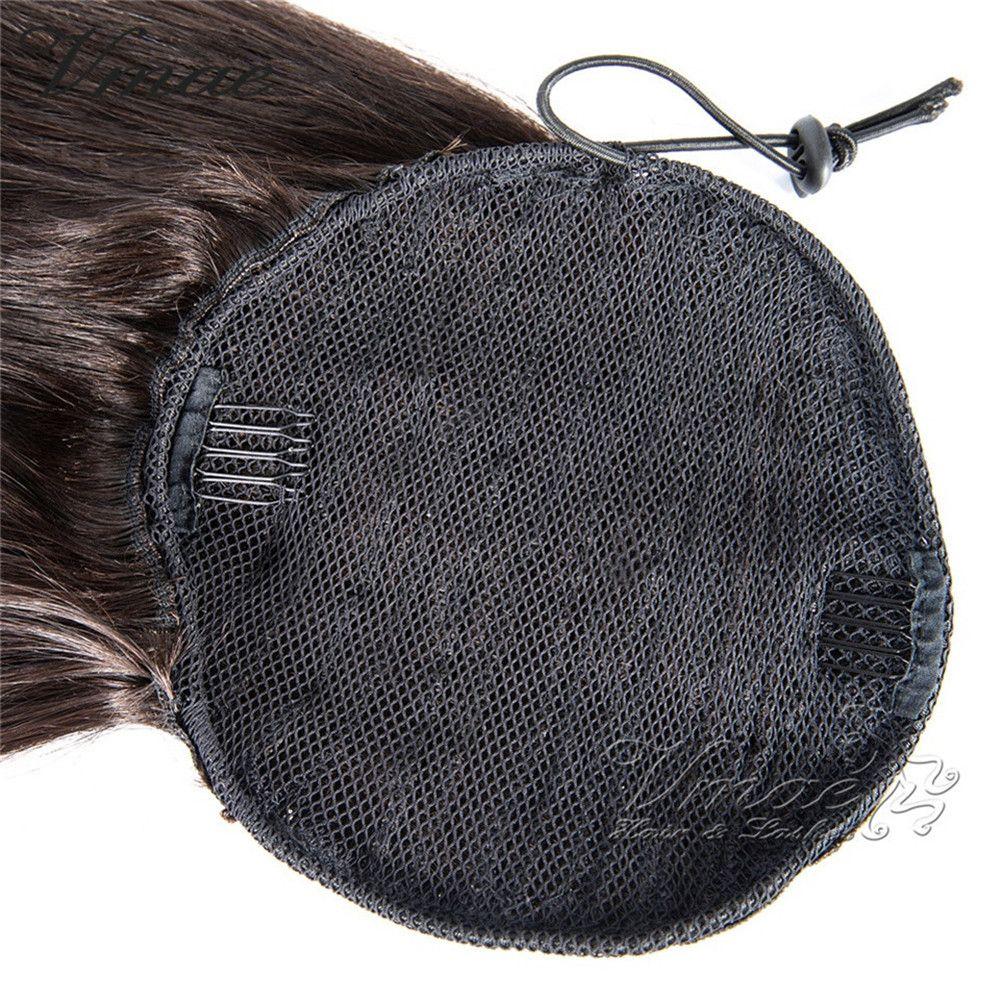 VM 100g 120g Diritto umano Coda di cavallo Capelli naturali Remy equiseto buco clip stretto In coulisse Ponytails Virgin estensioni dei capelli