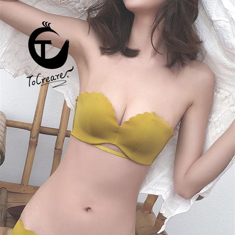 Yeni Yaz Güzellik Geri Straplez Sütyen Jant Görünmez Kadın İç Giyim İnce Omuz olmadan kaymaz Gizli toplayın