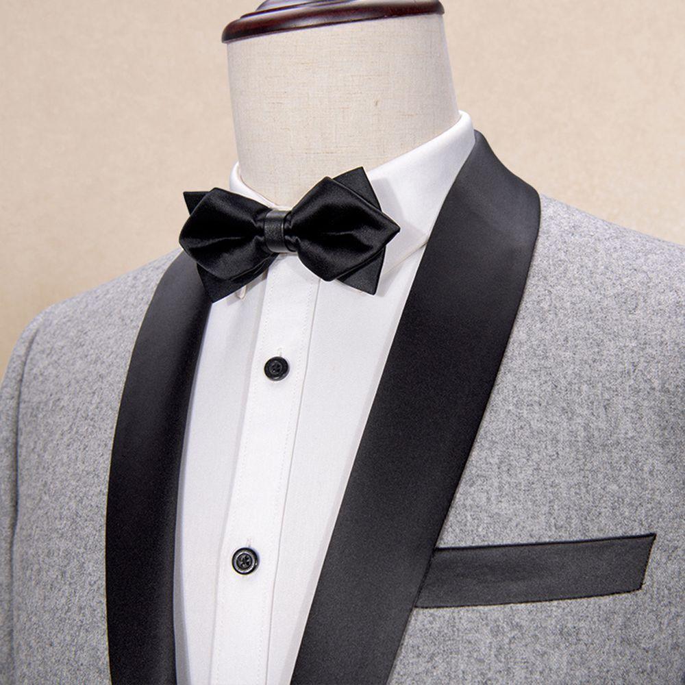 Mens Suits Shawl Collar 2 Pieces Slim Fit Grey Suit Mens Groom Tweed Wool Jacket Tuxedos for Wedding(Blazer+Pants+Tie)