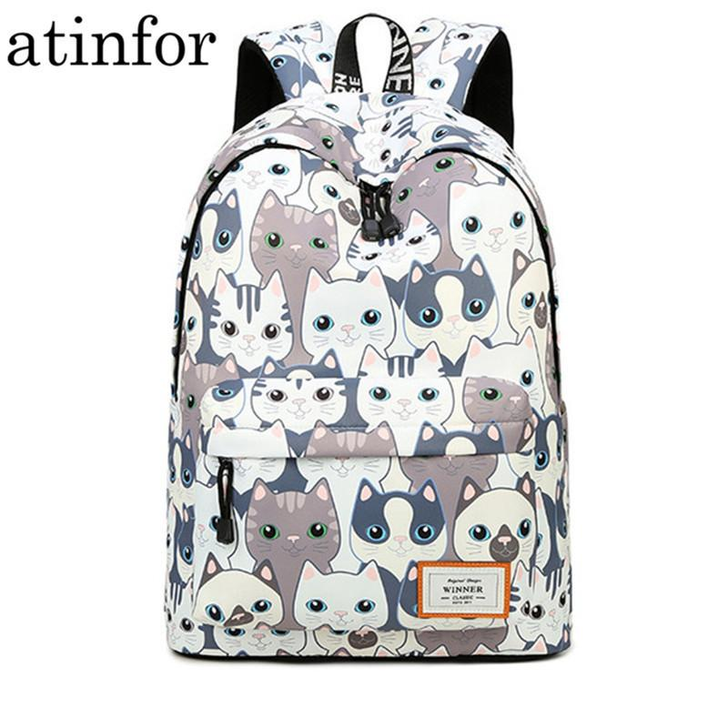 Waterproof Cat Printing Backpack Women School Students Back Pack Female 14-15.6 Inch Laptop Cute Book Bag For Girls Y19061102
