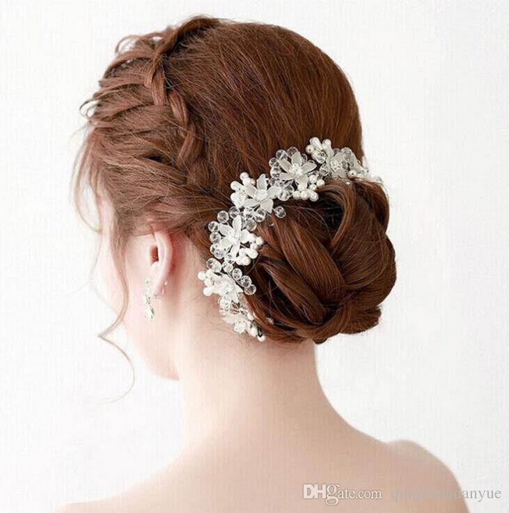 Yeni gelin gelinlik inci plaka saç bandı saç aksesuarları moda fotoğraf düğün takı aksesuarları