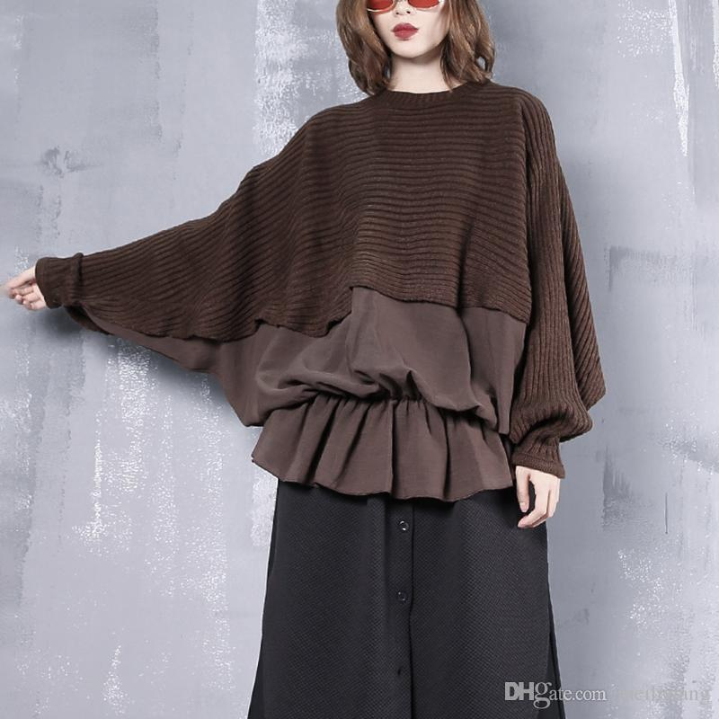 New Spring Round Neck Long Sleeve Black Loose Knitting Stitch Hem Ruffles Sweatshirt Women Fashion Tide JI7660