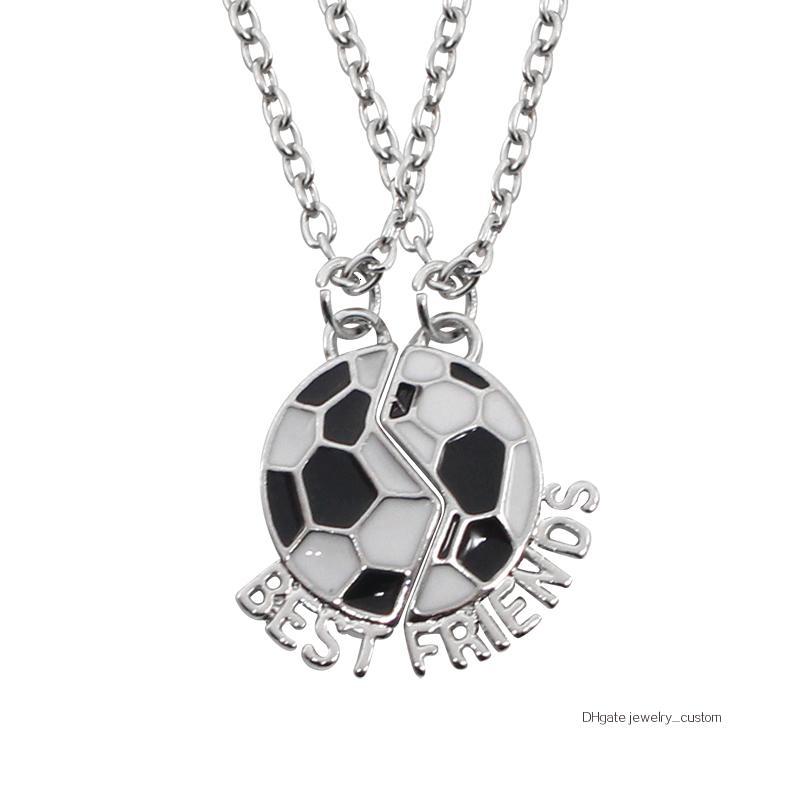 Модные Лучшие друзья ожерелье Футбол Friendship Подвеска Две Части Сращивание Эмаль Футбол Ожерелье Женщины Мужчины подарков Dropshipping