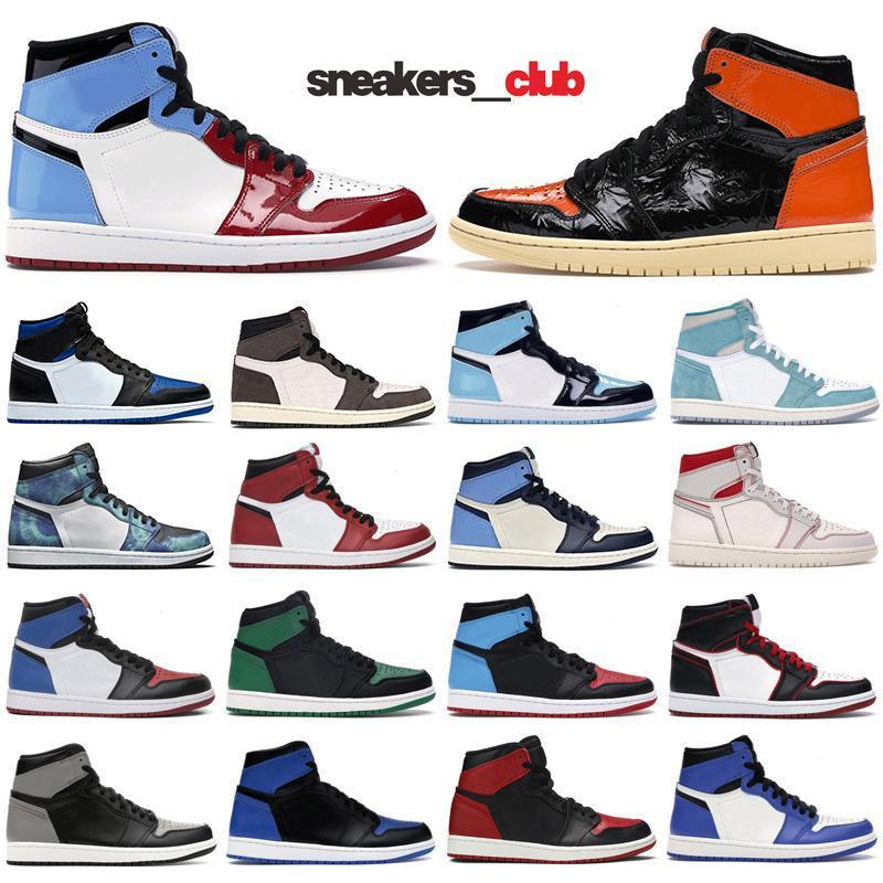 Mens 1s zapatos de baloncesto de Jumpman og 1 Royal dedo del pie Obsidiana UNC patente de pino verde Miedo Tie Dye mujeres de los hombres entrenadores deportivos sneakers36-45
