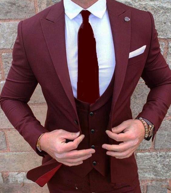 Popular Design Noivo Smoking One Button Vinho vermelho pico lapela Groomsmen Best Man Wedding Suit Mens Suits (Jacket + calça + Vest + TIE)