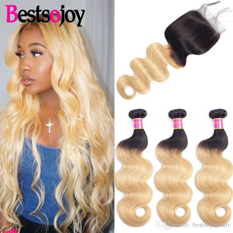 Bestsojoy Ombre 3 Bundles with Closure Dark Roots T1B 27 Blonde Virgin Hair Bundles with Lace Closure Ombre Body Wave Human Hair Weave