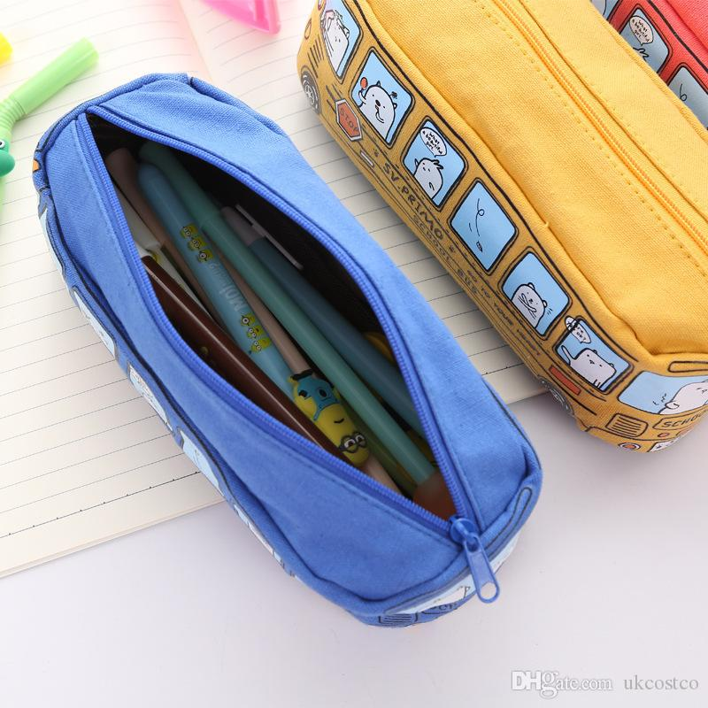 Free DHL 4 Colors Creative Car Pen Bag Canvas Large Capacity Small Bus Pencil Case Student Stationery Gift Children Kids Toys 2019 M324F