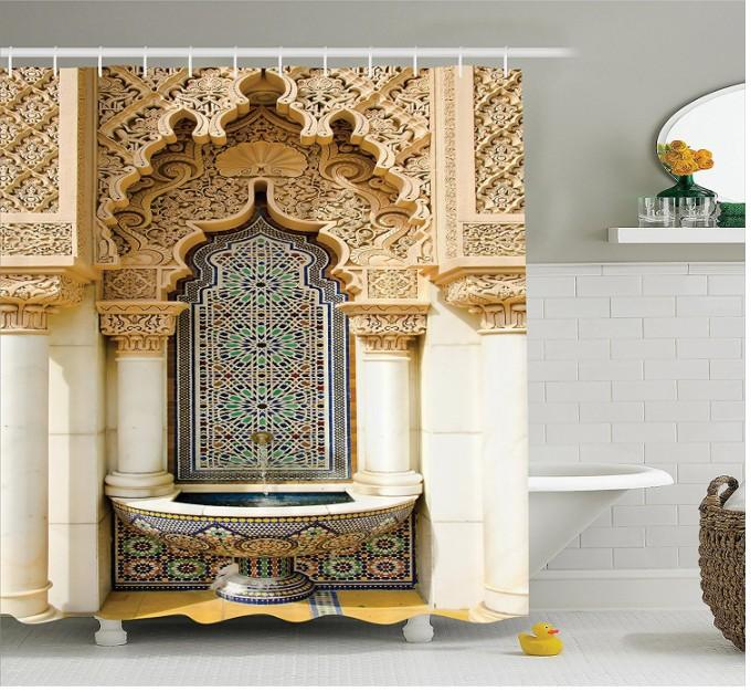 후크 샤워 커튼 모로코 장식 샤워 커튼 빈티지 건축 디자인 폴리 에스터 직물 욕실 샤워 커튼 세트