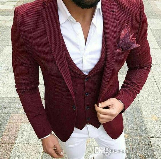Bordeaux mariage costumes pour hommes coutures Slim Fit marié tuxedos châle revers 3 pièces veste pantalon mâle blazer (veste + pantalon + gilet + cravate)