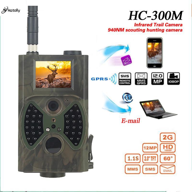도매 HC300M 사냥 카메라 GSM 12MP 1080P 사진 트랩 나이트 비전 야생 동물 사냥 트레일 카메라 사냥 샤쓰 스카우트 적외선
