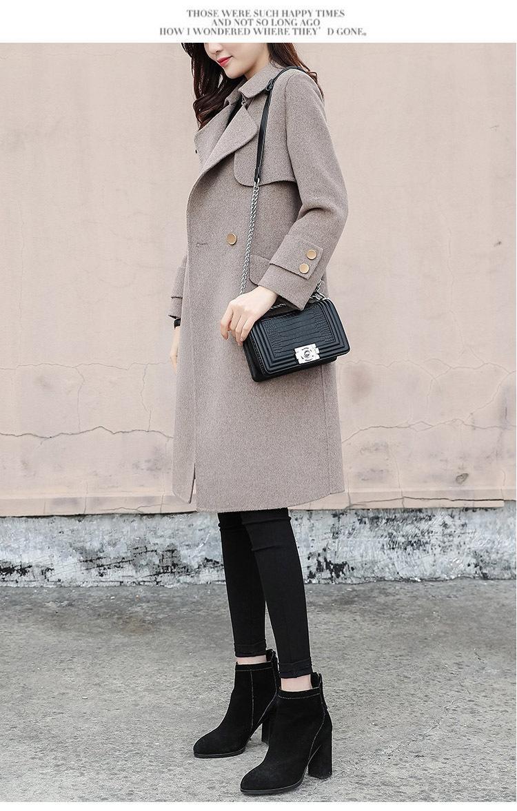 Nel 2019, la nuova versione coreana del cappotto di lana allentato per lo stile Hepburn medio e lungo inverno moda cappotto di lana delle donne
