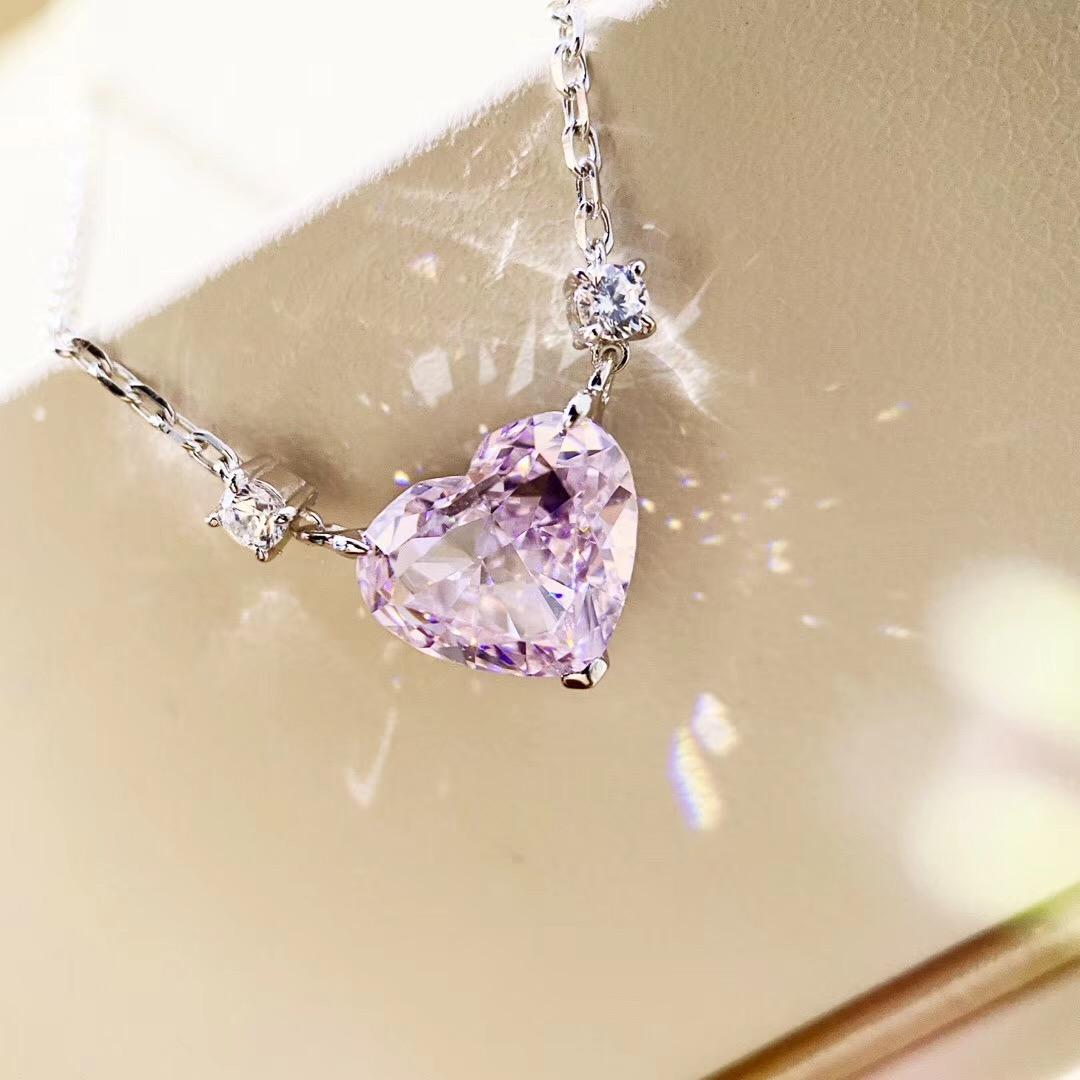 Роскошное качество S925 серебряное сердце pendat ожерелье в реальном 4.25 oct розовый бриллиант для женщин свадебные украшения и кольцо набор подарок бесплатная доставка