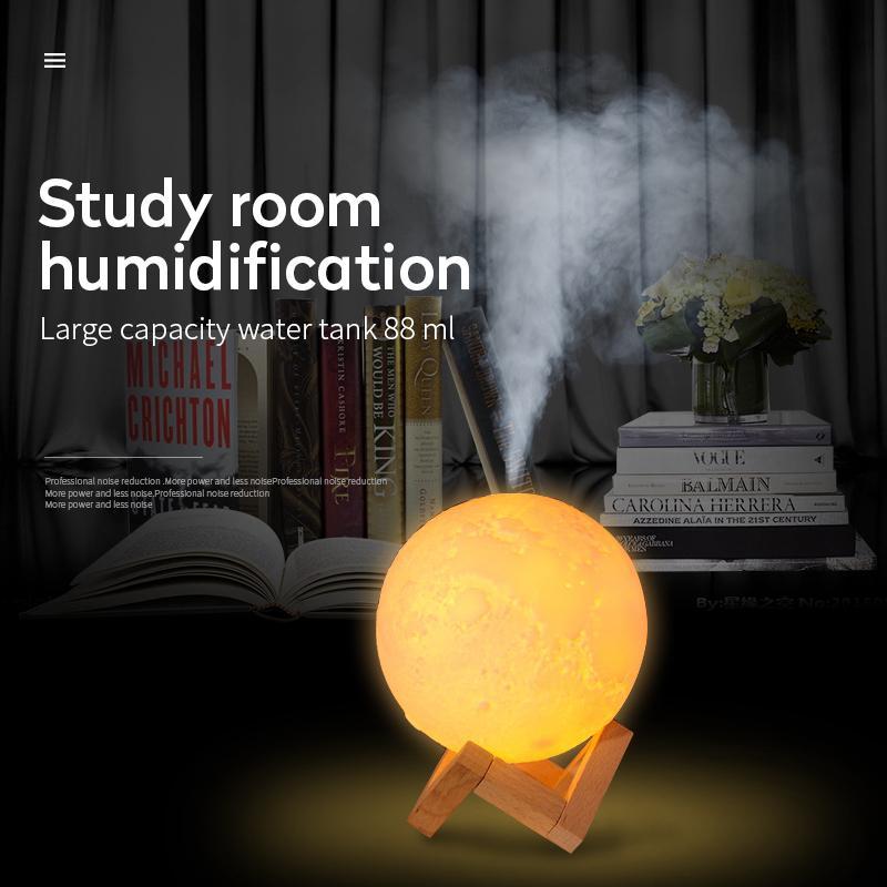 880ml USB ultrasónico del aroma del aire con la luna 3D de la lámpara de luz de aceite esencial del difusor del aroma del aire de la niebla para el dormitorio turística Y200416