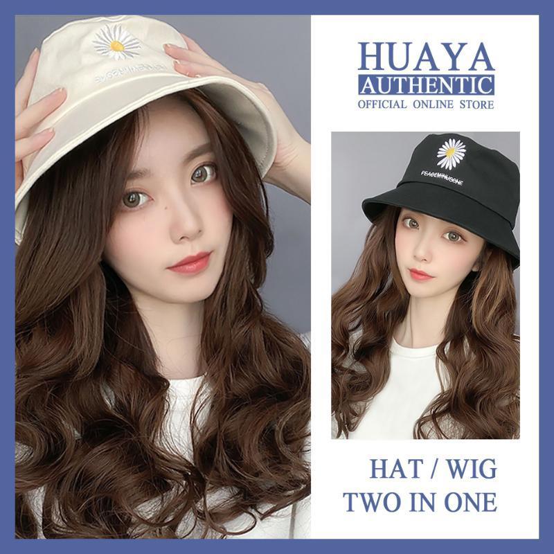HUAYA Peruk Doğal Bağlantı Şapka Peruk Kadın Uzun Dalgalı Şapka Saç Saç İki One Yüksek Sıcaklık Fiber Peruk