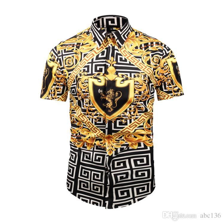 Brand New мужские рубашки Мода Харадзюку Повседневная рубашка Мужчины Luxury Medusa Black Gold Необычные 3D печати рубашки Slim Fit