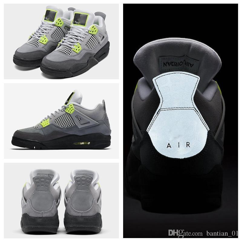 2020 novos homens sapatos tênis de basquete 4 3M néon homens sapatos desportivos 4s tênis preto formadores chaussures [máscara] Vender