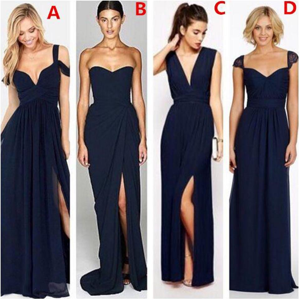 2020 New Fashion Dark Navy Blue Chiffon Beach Bridesmaid Dresses with Split Different Style Junior Bridesmaids Dress Custom Make Cheap Gown