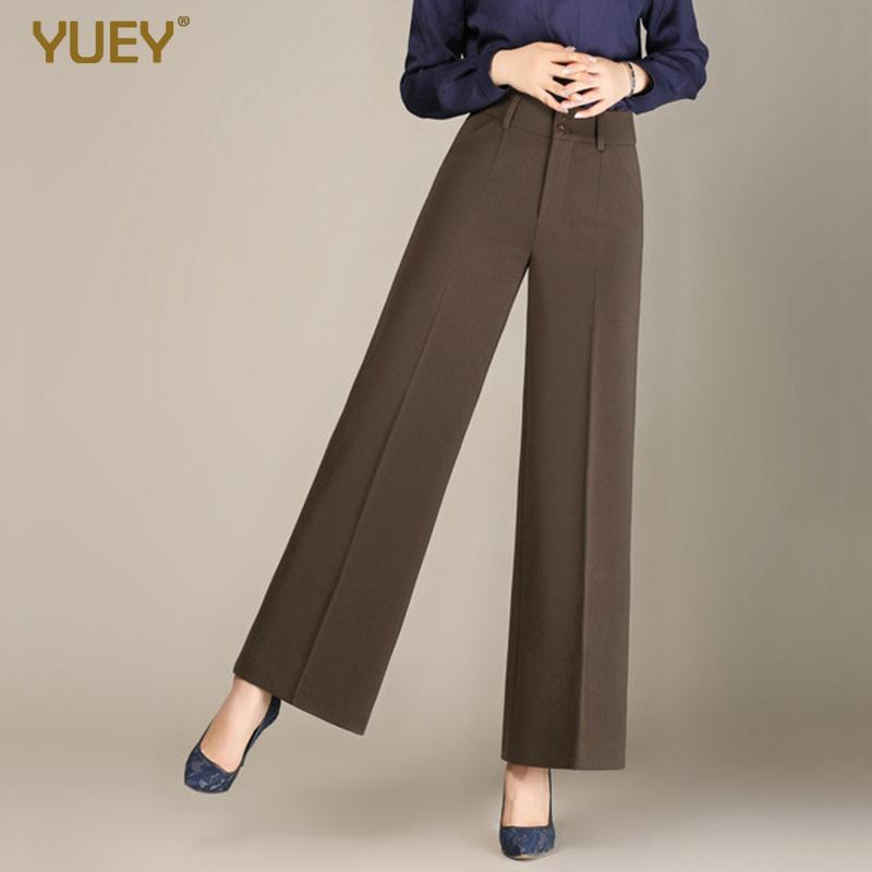 New Women's Casual Wide Leg Pants Female High Waist Cropped Pants For Autumn Solid Color Straight Office Lady Suit Pants 3XL 6XL Y200418