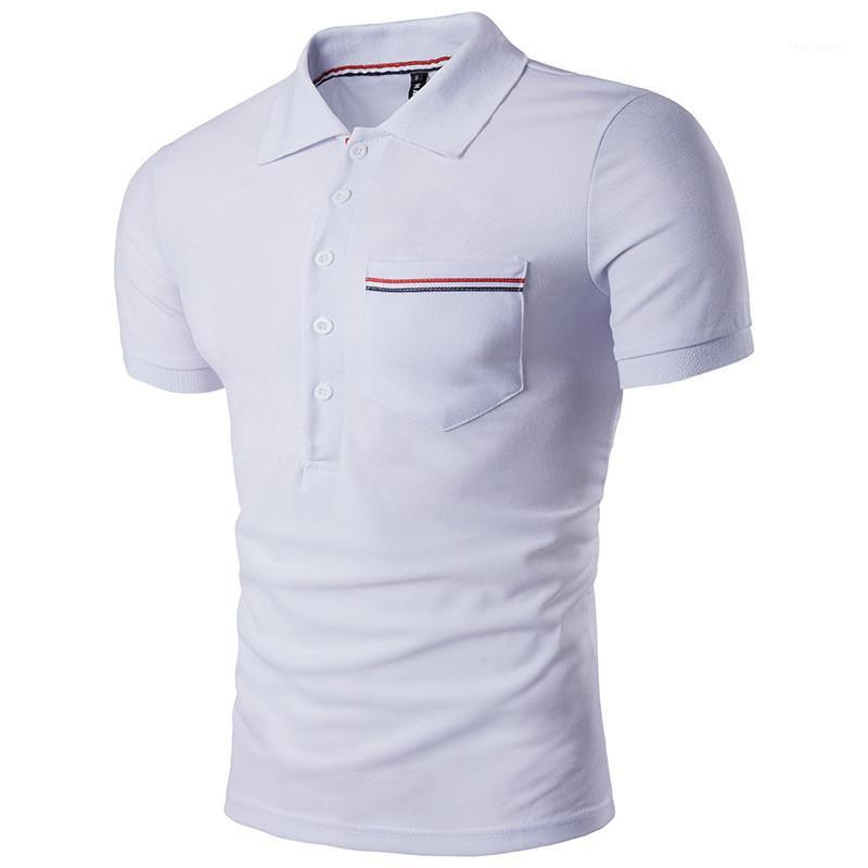 Sleeve Polos Mens Clothing Designer Mens Patchwork Polos Fashion Color Striped Pocket Polos Casual Solid Color Short