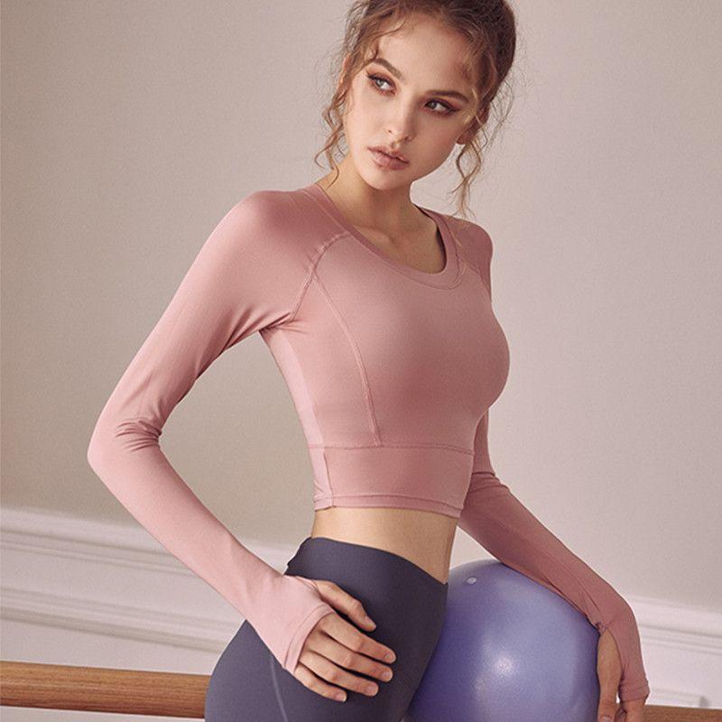 Autumn Thin Stil Sport-T-Shirts Frauen Langarm-Fitness Top Gym Yoga-Hemd Elastic Enge Workout Laufen T-Shirt Crop Top