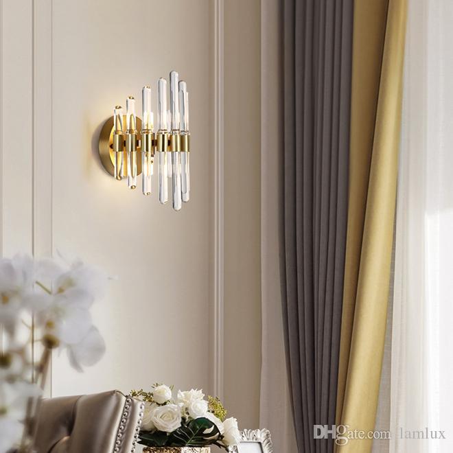 Modern Pink Wall Lamp Sconce Bedroom Bedside Lighting Crystal Wall Light Fixture