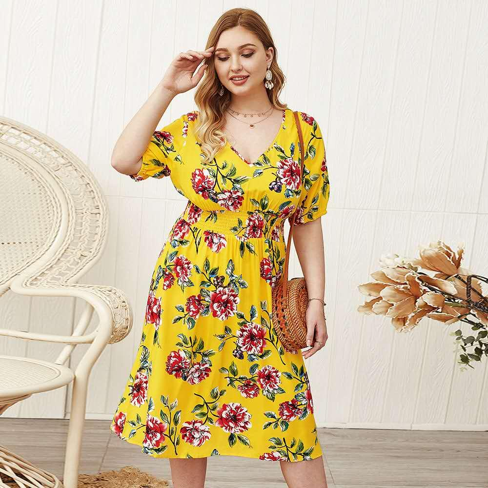 Plus Size Women Summer Dresses Fat Women Clothes 4xl New Fashion Sexy Yellow Color Printed V Neck Waist Short Sleeve Designer Dress Clothing Girl Dress Summer Dresses For Women From Qidiantoys2020 21 01