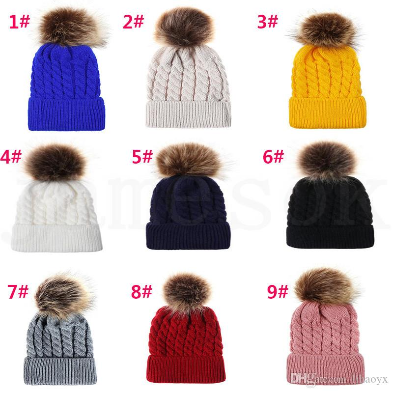 Baby Crochet Caps Kids Fur Ball Twisted Knitted Hats Imitation Braid Hair Ball Cap Children Winter warm Hat 9 Colors Accessories dc928
